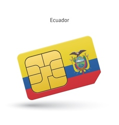 Ecuador mobile phone sim card with flag vector