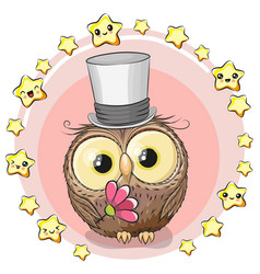greeting card owl with stars vector image