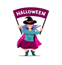 Halloween witch with festive banner vector