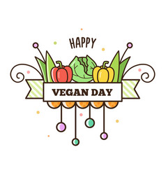 happy vegan day vector image vector image