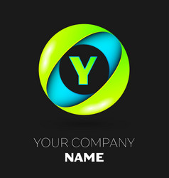 letter y logo symbol in the colorful circle vector image vector image