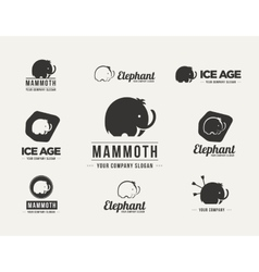 Mammoth silhouette badges set vector