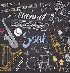 Music instruments set hand drawn sketch on vector