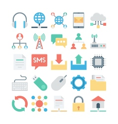 Network and communication colored icons 2 vector