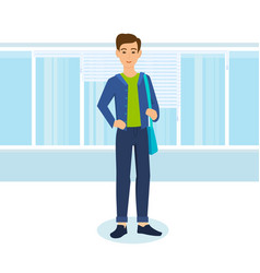 Office worker on background of interior of room vector