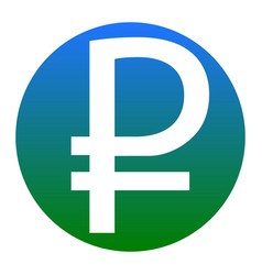 Ruble sign white icon in bluish circle on vector