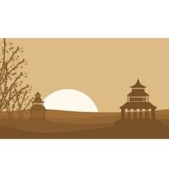 Silhouette of two pavilion landscape vector