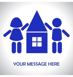 Silhouettes of children around the house vector