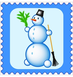 Snowman stamp vector image vector image