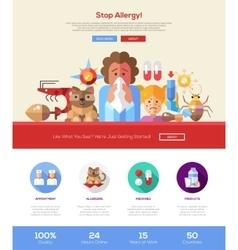 Stop allergy website header banner with webdesign vector