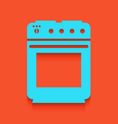 Stove sign whitish icon on brick wall as vector