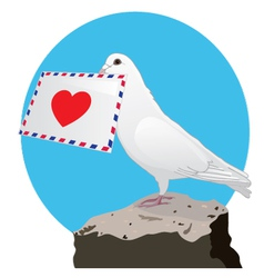 The dove with a love letter vector
