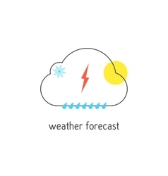 Weather forecast logotype with outline cloud vector