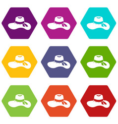 woman hat icon set color hexahedron vector image