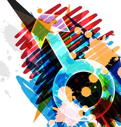 male symbol on art background vector image
