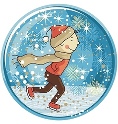 Ice skating kid snow globe vector