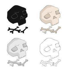 Human ancient bones icon in cartoon style isolated vector
