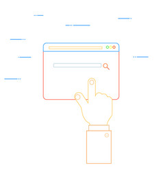 Hand clicks on the web page vector