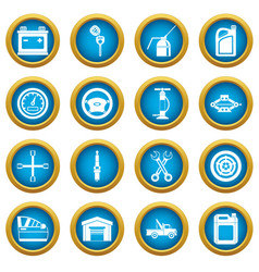 car maintenance and repair icons blue circle set vector image