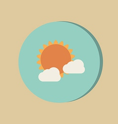 Sun behind the cloud the weather icon vector