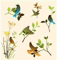 Set of birds and twigs vector