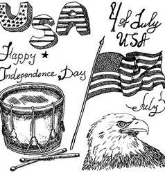 Usa waving flag bald eagle and drum with drumstiks vector