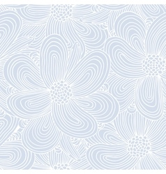 Seamless pattern with doodle flowers silhouettes vector