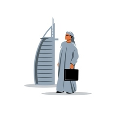 Arabic businessman with a briefcase in hand vector image