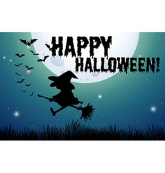 Happy halloween sign with witch on broom vector