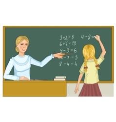 Teacher and schoolgirl at blackboard eps10 vector image