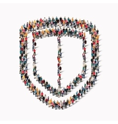 people shape shield protection vector image