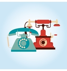 Flat about vintage phone design vector