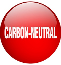 Carbon-neutral red round gel isolated push button vector