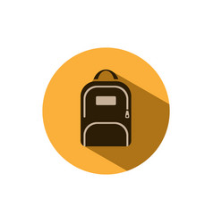 Backpack icon with shadow on a yellow circle vector