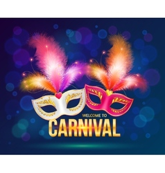 Bright carnival masks on dark blue background vector image vector image