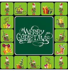 Christmas elements with text vector image vector image
