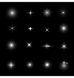 Collection of star light glitter and shine effect vector