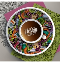 Cup of coffee and design doodles vector