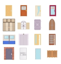 Door icons set cartoon style vector image