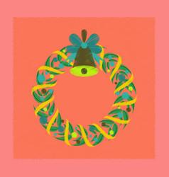 Flat shading style icon christmas wreath vector