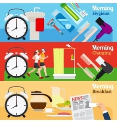 Good morning new day banners vector