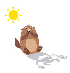 groundhog saw his shadow and scared flat vector image vector image