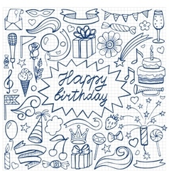 Happy birthday hand drawn set on squared paper vector image vector image