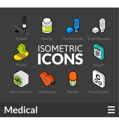 Isometric outline icons set 18 vector