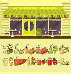 Juice bar and set of colorful food and drink fruit vector