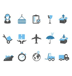 logistics and shipping icons set blue series vector image vector image