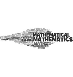 Mathematics word cloud concept vector