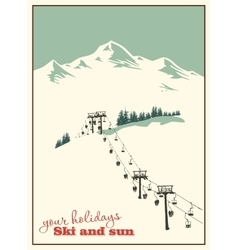 Mountain landscape ski lift vector