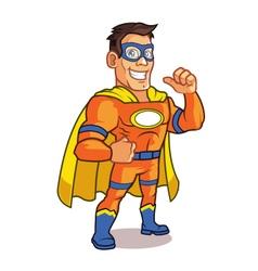Orange superhero cartoon mascot vector