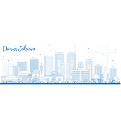 Outline dar es salaam tanzania skyline with blue vector